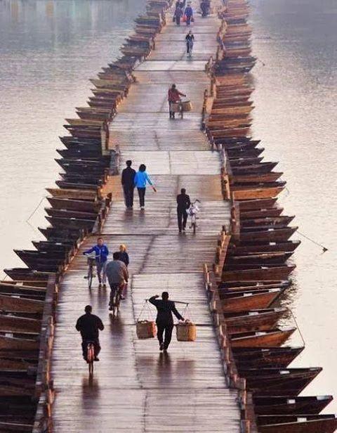 Wooden Boats Bridge, China, Green Renaissance https://www.facebook.com/greenrenaissance